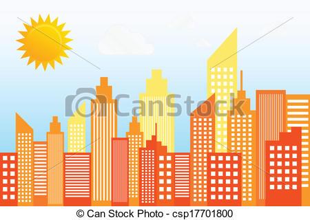 Vector Clipart of Modern City Skyscrapers Skyline On Sunny Day.