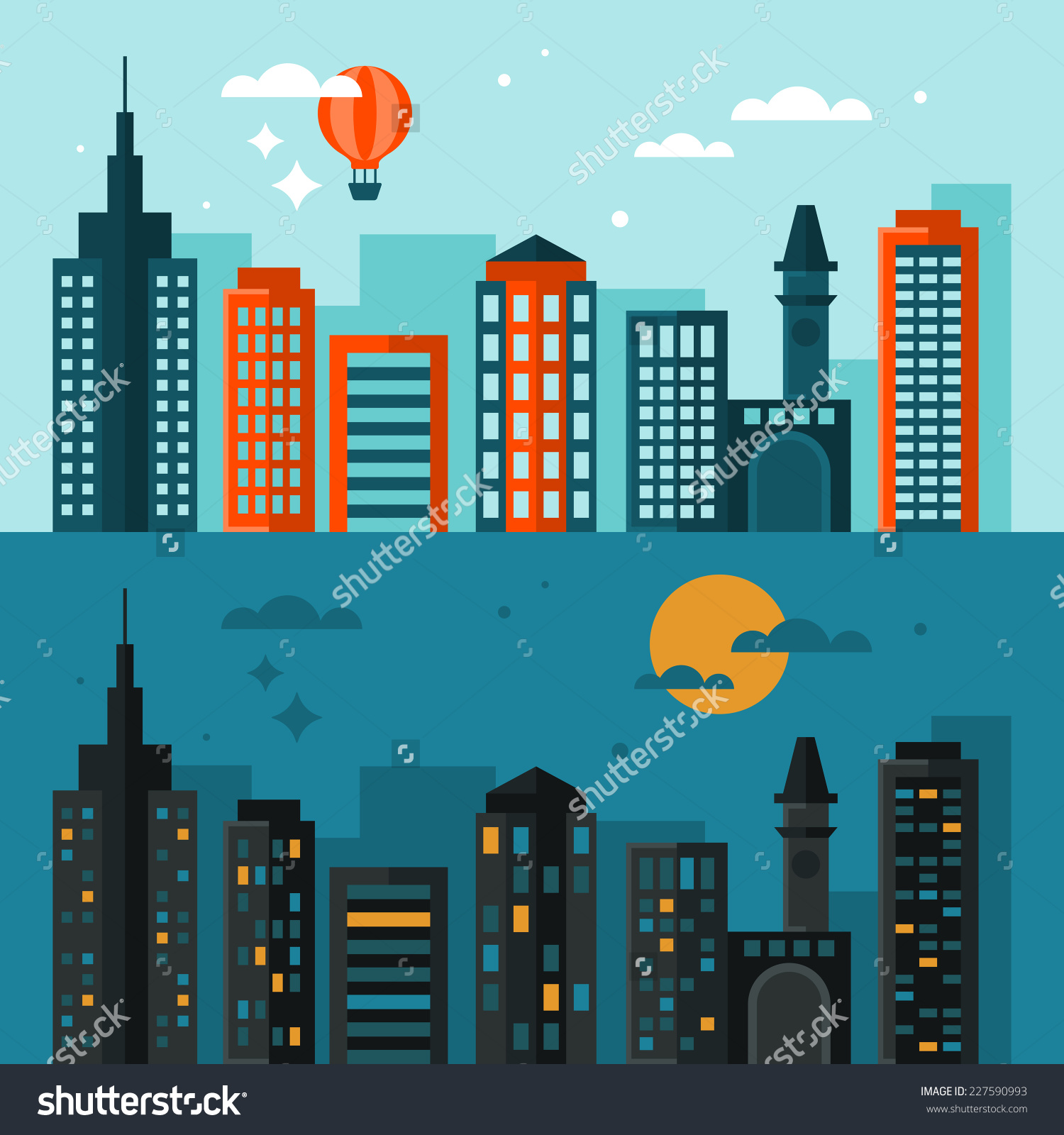Flat Modern Design City Skyline Day Stock Vector 227590993.