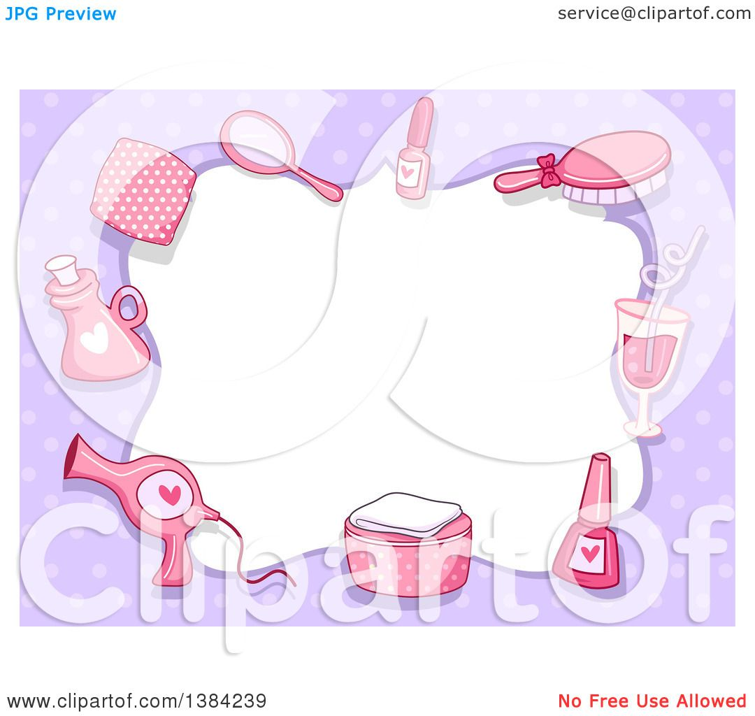Clipart of a Border Frame of Pink Spa Accessories on Purple Polka.