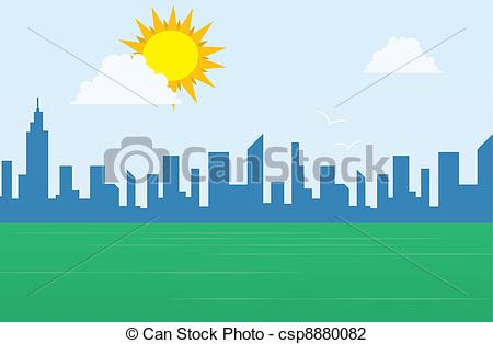Daytime city Vector Clipart Royalty Free. 152 Daytime city clip.
