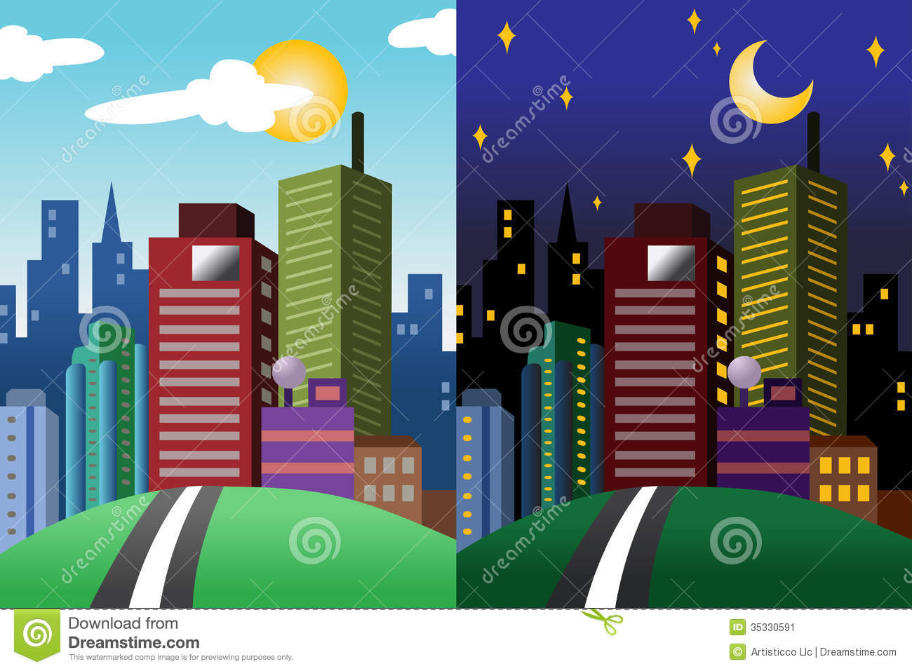 Day And Night View Of A Modern City Stock Image.