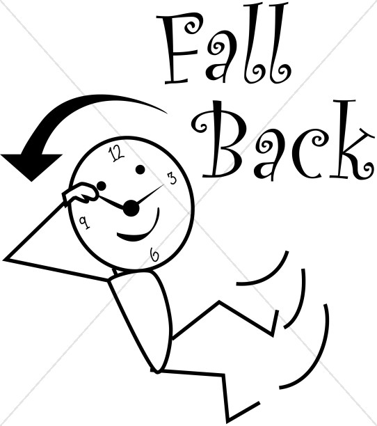 Fall Back Daylight Savings Stick Figure.