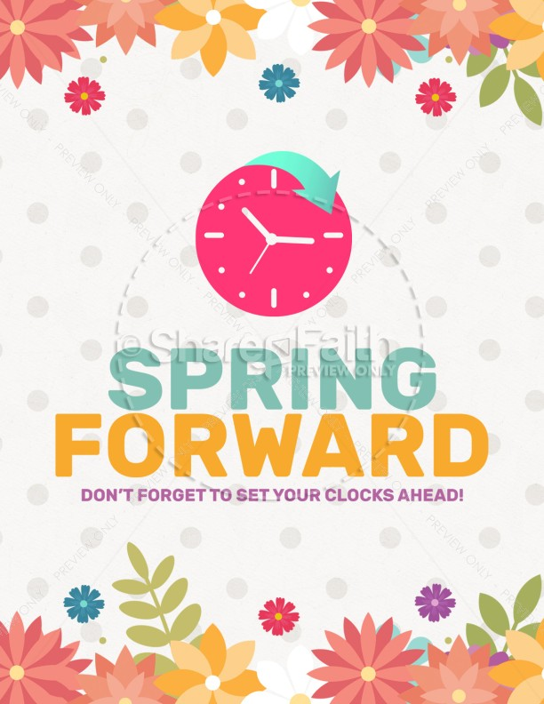 Daylight Saving Time Spring Forward Flyer Template.