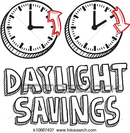 Daylight savings time sketch Clip Art.