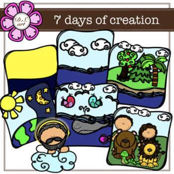 7 days of creation Clipart (color and black&white).