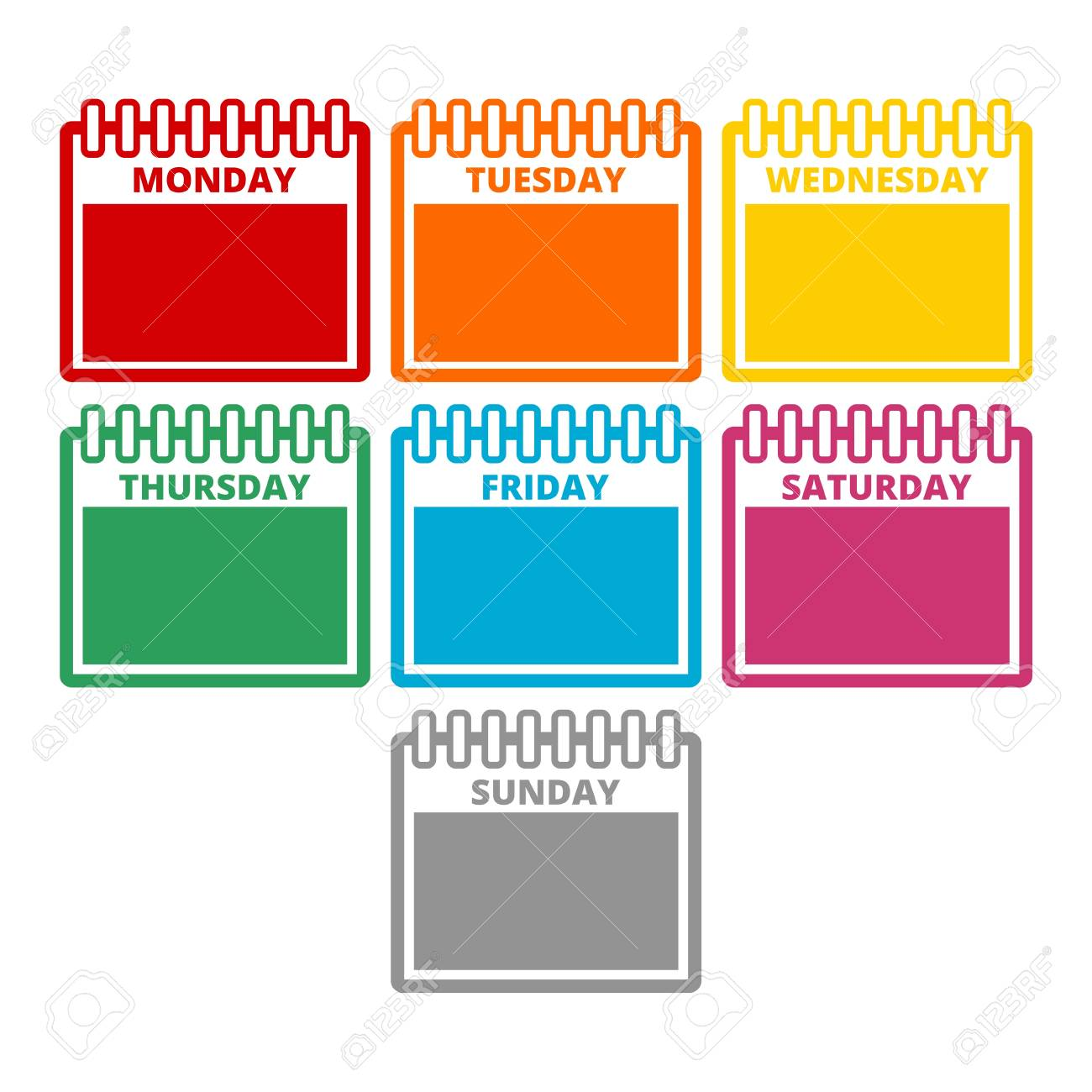 Days of the week, Calendar sheets with the days of the week.