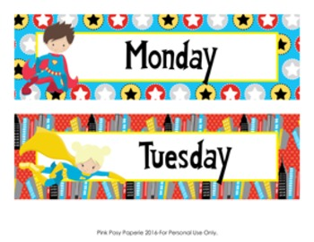 Superhero Days of the Week Calendar Headers.