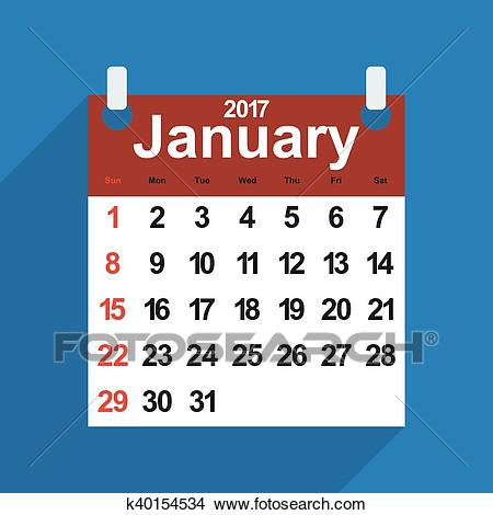 Leaf calendar 2017 with the month of January days Clipart.