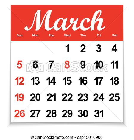 calendar 2017 with the month of March days of the week and dates.
