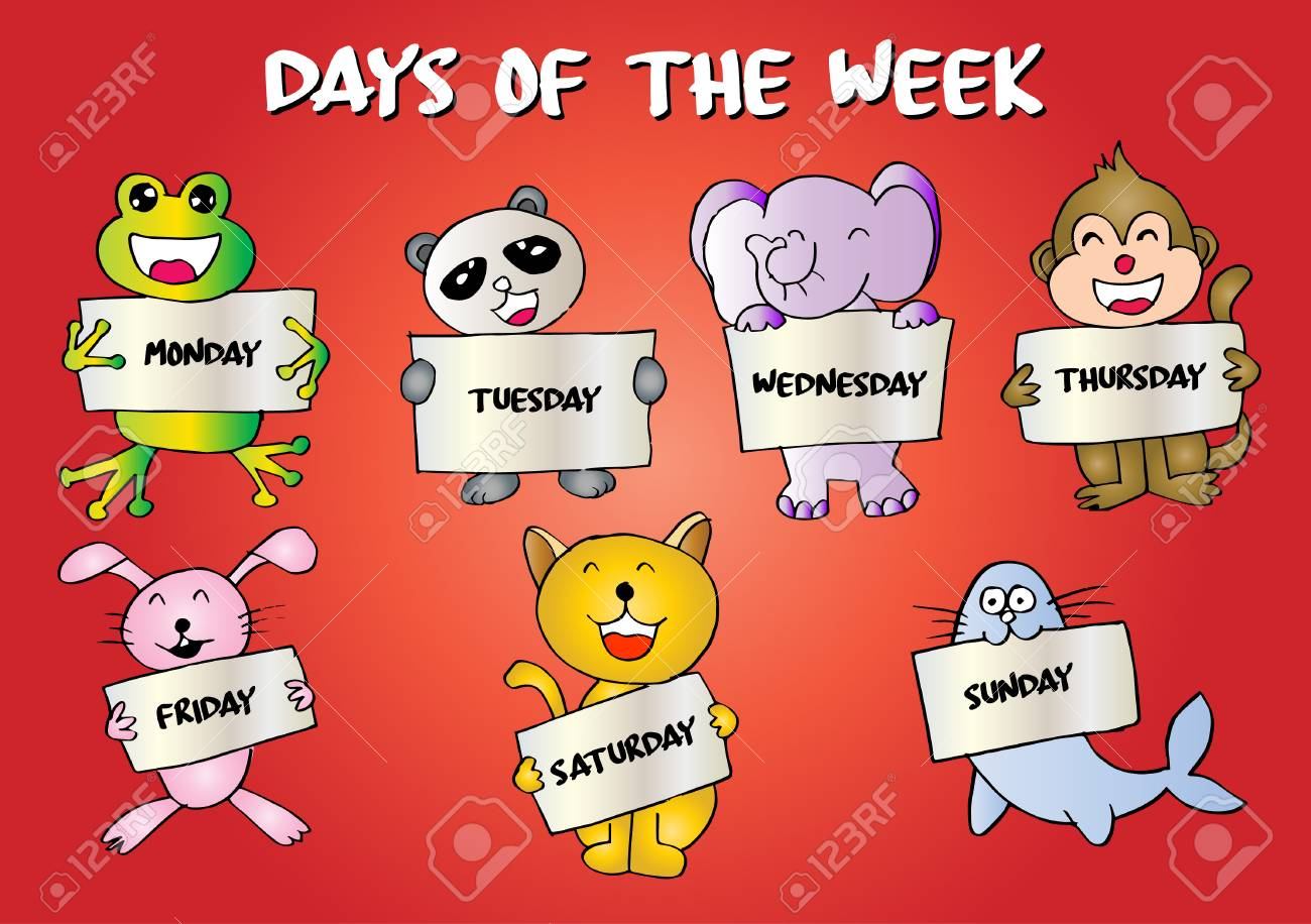 Days of the week with cute animals.