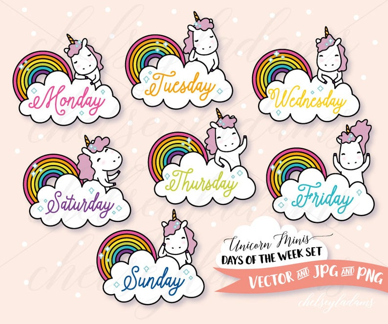 Chibi Unicorn Days of the Week Clip Art Set, DIY Stickers, Vector Clipart  Graphics, Cute, Kawaii Commercial Use Planner Clipart, Rainbow.