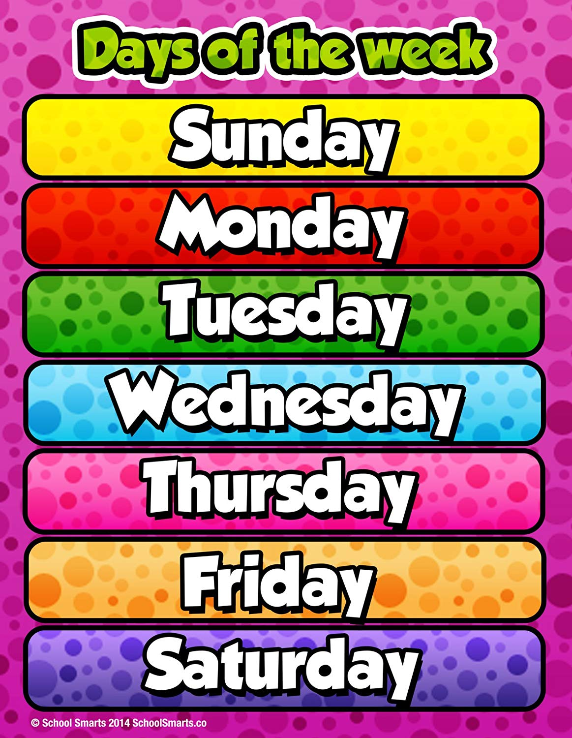 Days of The Week Chart by School Smarts Fully Laminated,Durable Material  Rolled and Sealed in Plastic Poster Sleeve for Protection. Discounts are in.