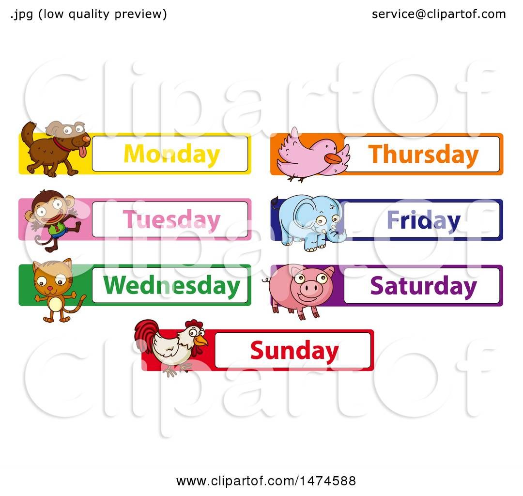 Clipart of Animals with Days of the Week.