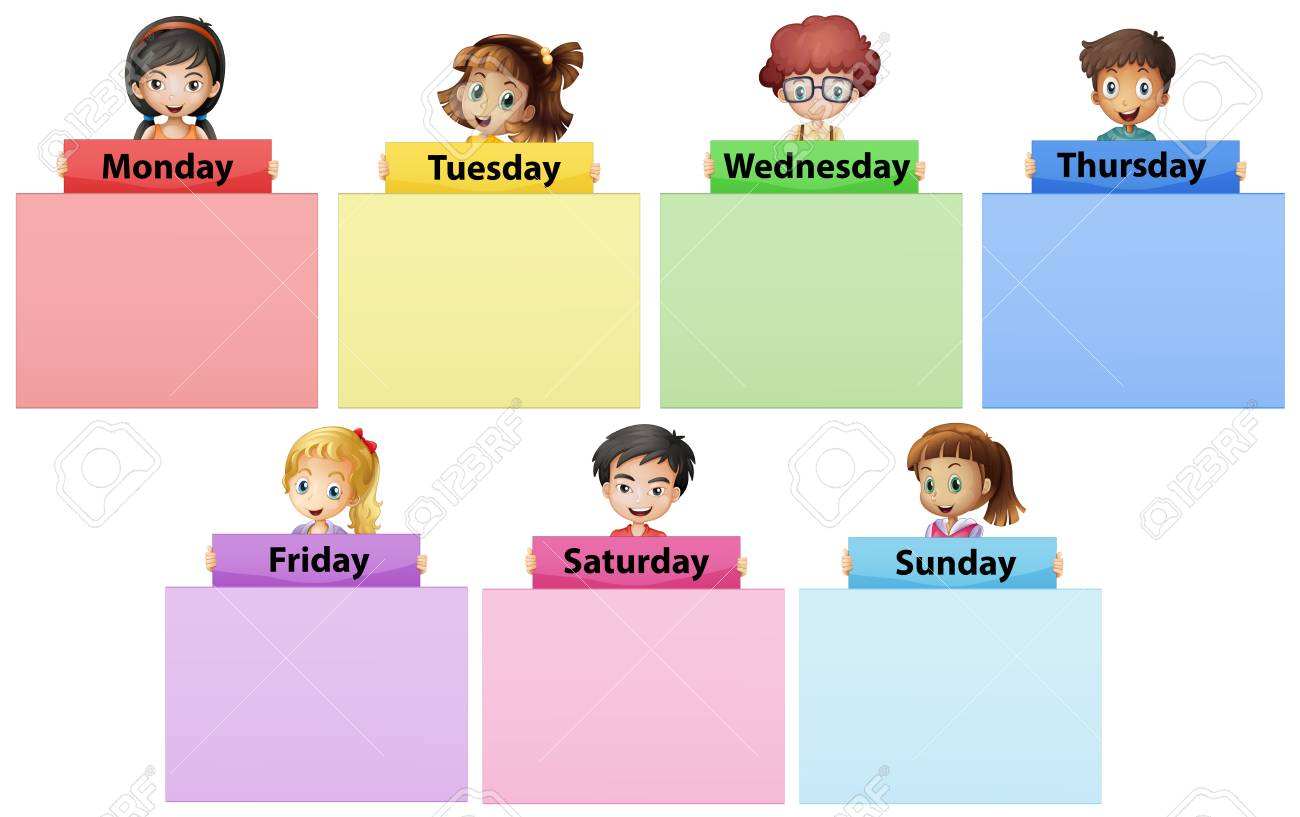 Happy children and seven days of the week illustration.
