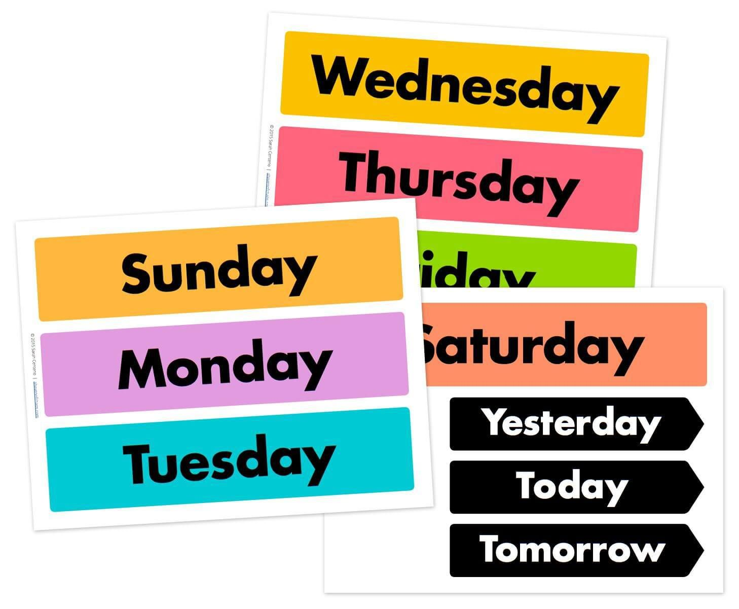 Days of the week printable free.