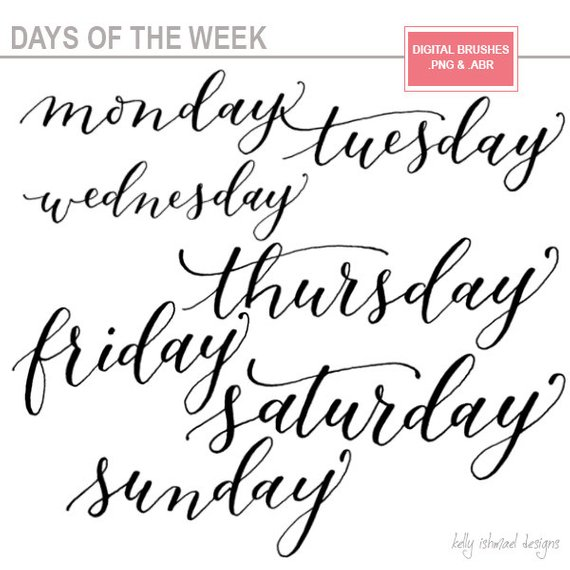 Days of the week / digital word art / photoshop brushes / *.abr and.