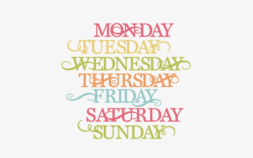 Days Of The Week Svg Cut Files For Scrapbooking Cardmaking.