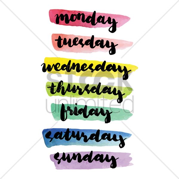 Days of the week text Vector Image.