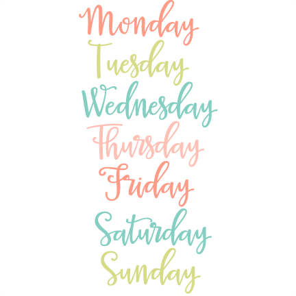 Days Of The Week Clipart Png Images.