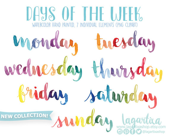 Days of the week Watercolor Hand painted Lettering png clipart for.
