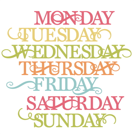 Days Of The Week SVG cut files for scrapbooking cardmaking week days.