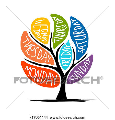Art tree design with 7petal days of week Clipart.