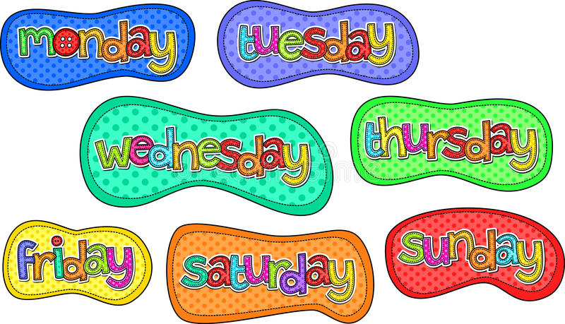 Days Of Week Banners As Retro Festive Frames In Shabby Chic Style.