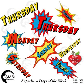 Superhero Clipart Days of the Week Full Color Clipart, Back to School,  AMB.