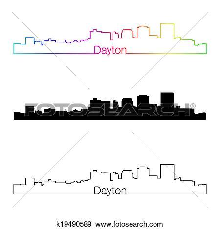 Clip Art of Dayton skyline linear style with rainbow k19490589.