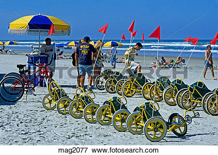 Picture of Rental recliner tricycles on beach Daytona Beach.