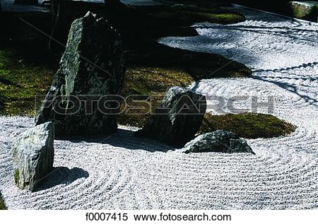 Stock Image of Japan, Fukuoka, zen garden at the Dazaifu temple.