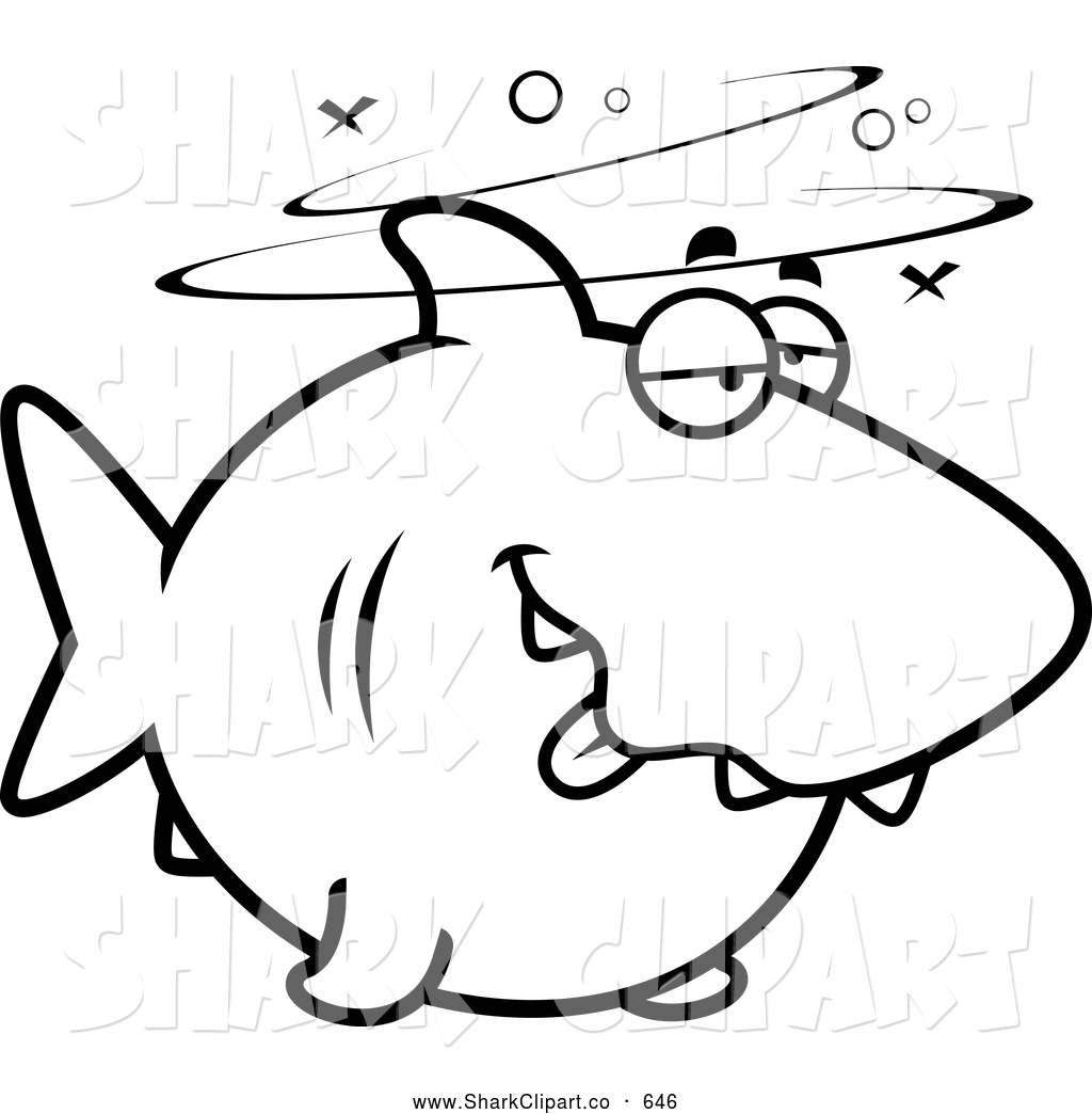 Clip Art of a Black and White Drunk and Dazed Shark by Cory Thoman.