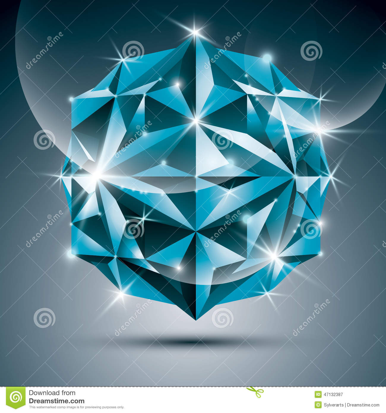 3D Blue Shiny Sphere. Vector Fractal Dazzling Abstract Illustrat.