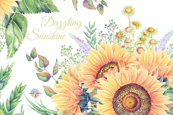 Dazzling Sunshine Watercolor Clipart ~ Illustrations on Creative.