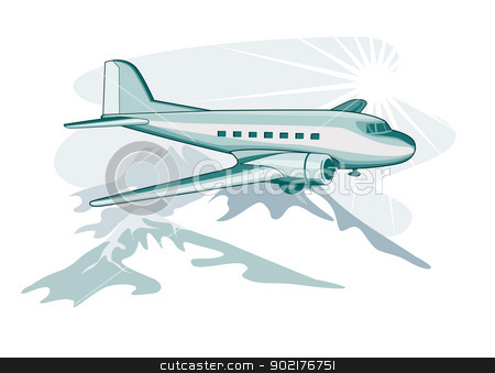 Propeller Airplane Retro stock vector.