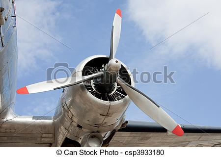 Stock Photography of Propeller engine of vintage airplane DC.