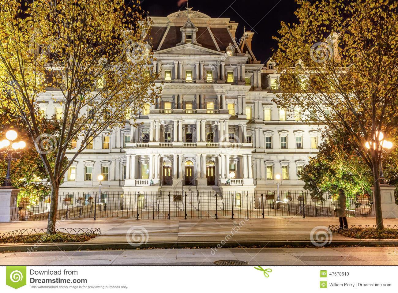 Old Executive Office Building Night Washington DC Stock Photo.