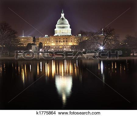 Stock Photo of US Capitol Night Reflection Washington DC k1775864.