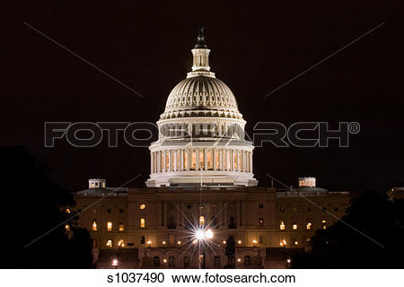 Stock Photography of Building lit up at night, Capitol Building.