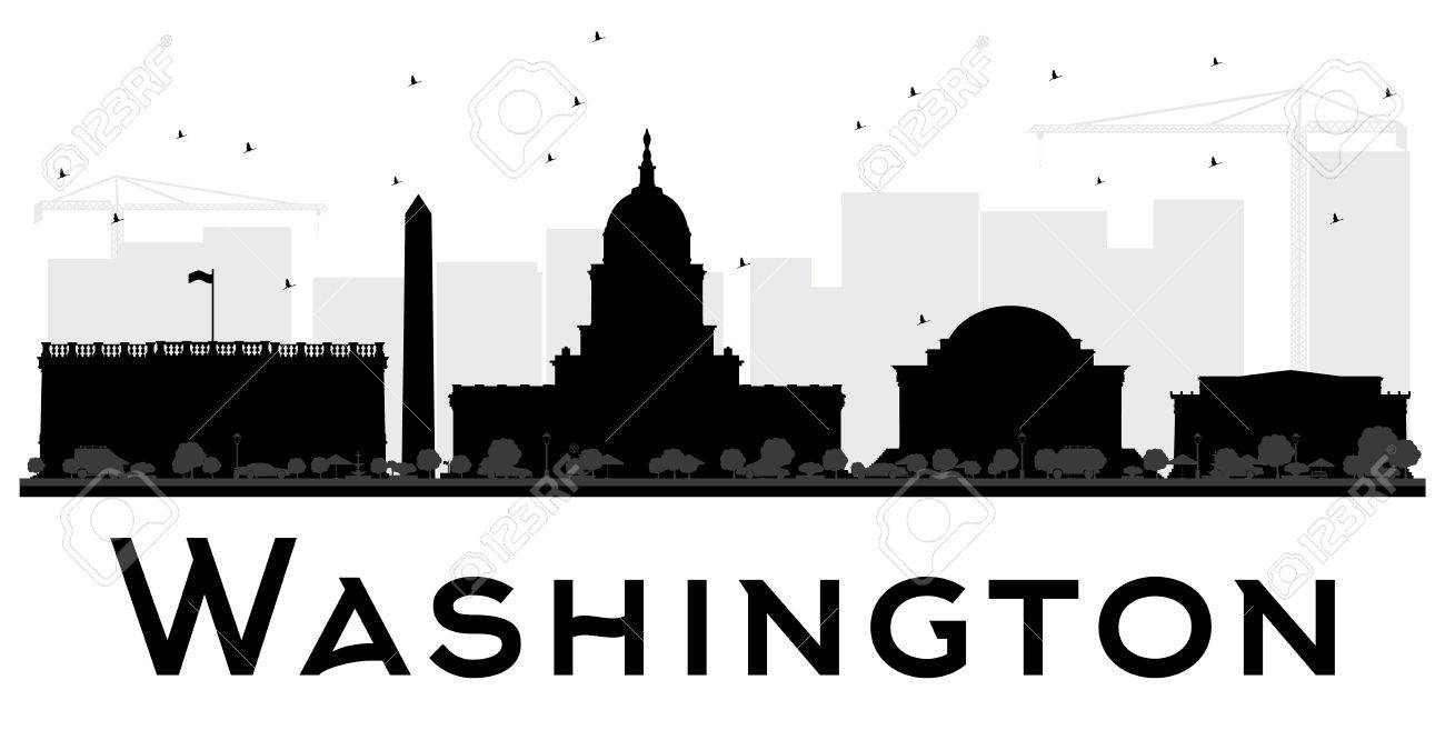 Washington DC City skyline black and white silhouette. Vector...