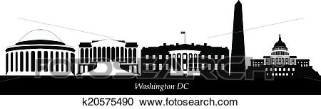 Washington dc city skyline Clipart.
