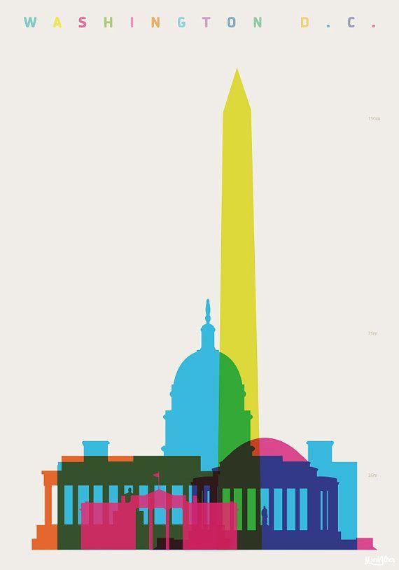 11 x 14 Washington DC Skyline & Streets Word Art by WordMarket.