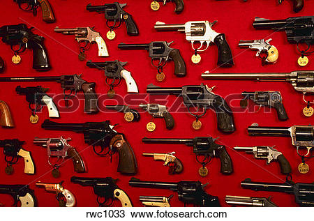 Stock Photo of Display of firearms confiscated off the streets of.