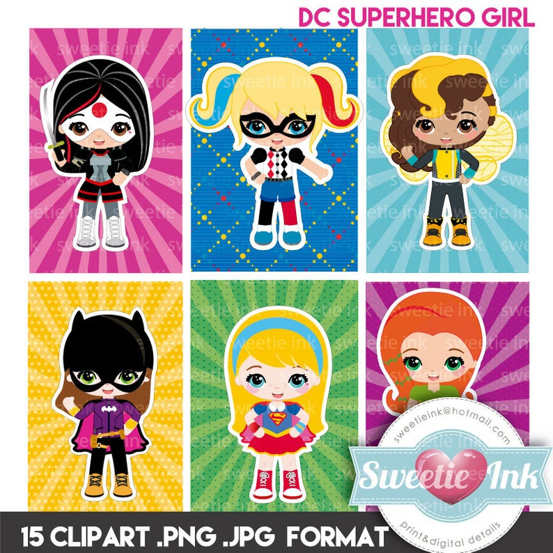 DC Superhero girl clipart kawaii.