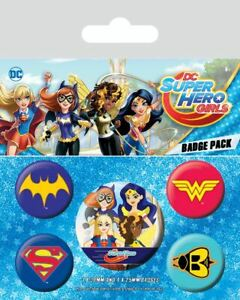 Details about DC SUPER HERO GIRLS Pack of 5 x Pin Backed Badge pack LOGOS  Design Badges.