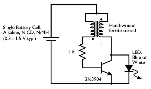 Dean W. Armstrong: Joule Thief: a simple DC voltage booster.