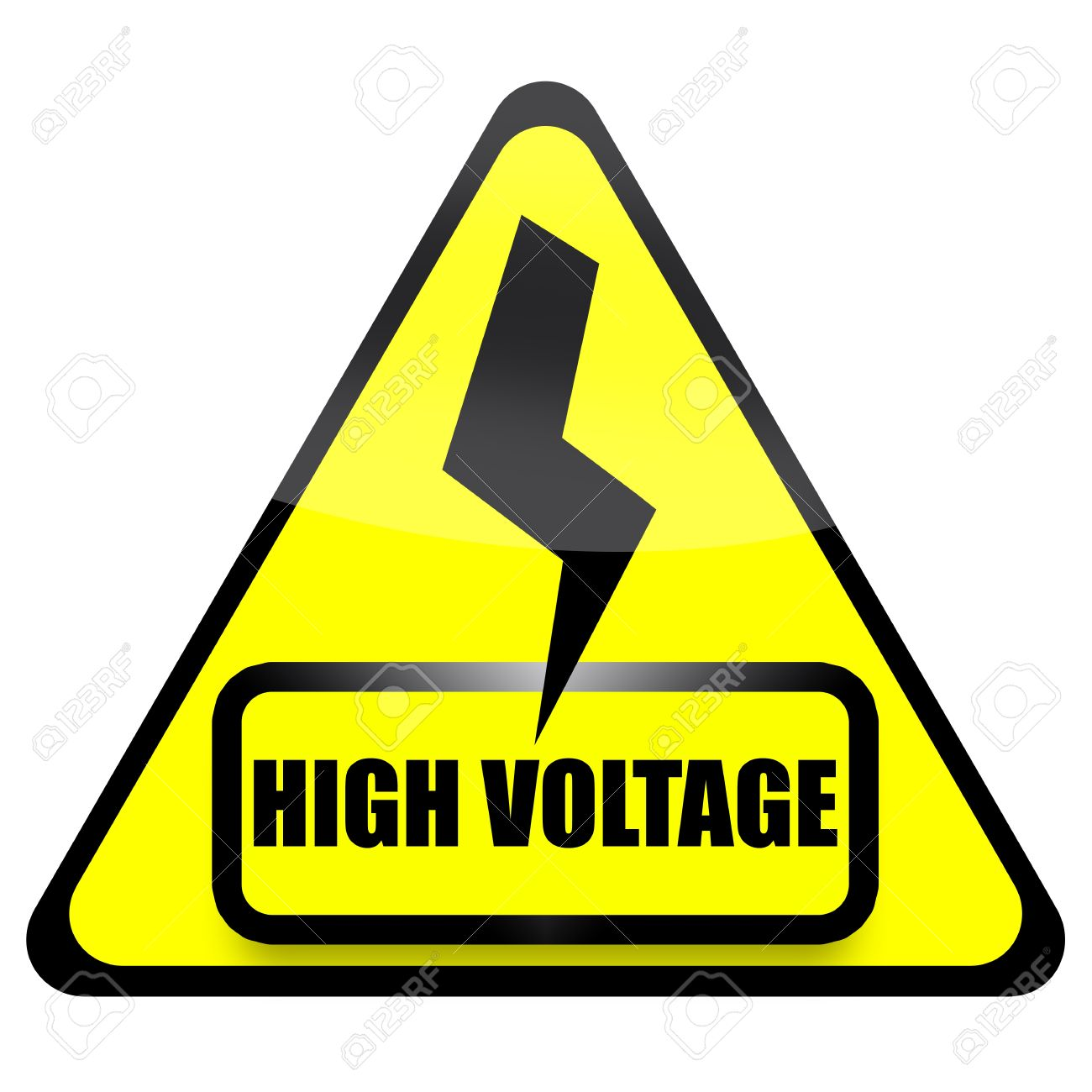 High Voltage Sign With Thunder Isolated Over White Background.