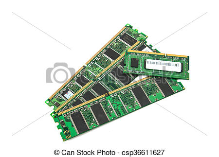 Stock Photo of DDR RAM stick isolated.