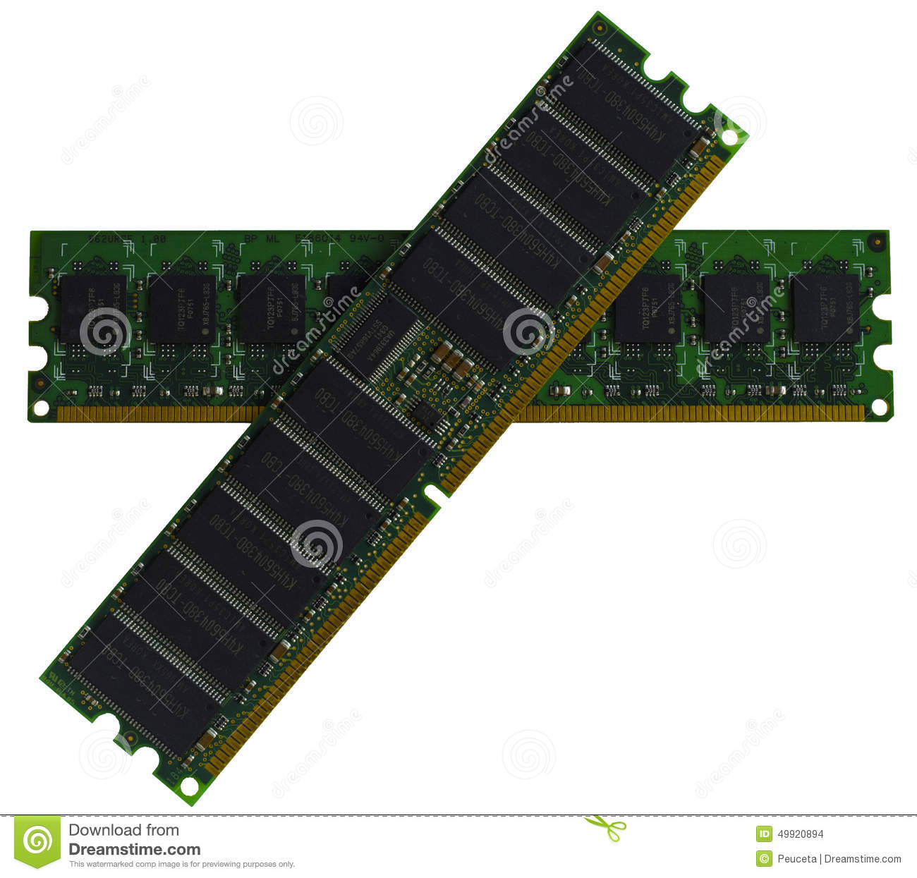 DDR RAM, Computer Memory Chips Modules Stock Photo.