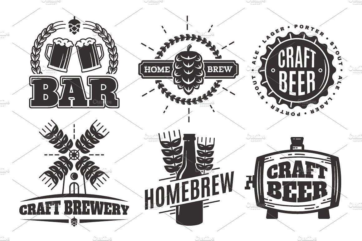 Craft beer vintage logos #beer#logos#Bar#Vector.